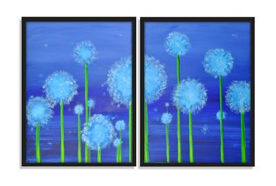 """Dandelion Field"" - Acrylic on canvas - 2 X (80 cm x 60 cm)"