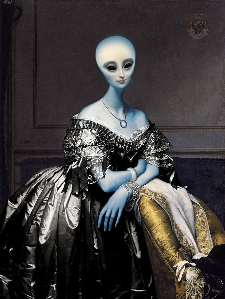 Revision based on a portrait of Princesse Albert de Broglie by artist Jean-Auguste-Dominique Ingres in 1853