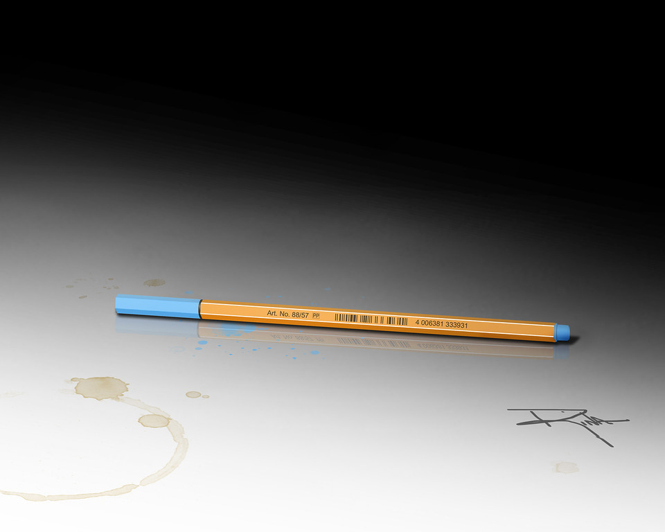 2D still life of a blue pen on desk