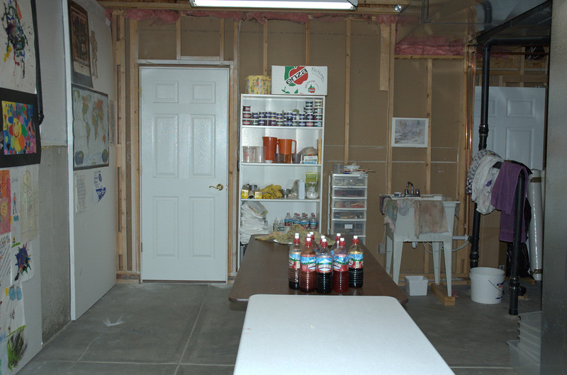 My former dye studio in the basement of my home in Parker, Colorado.  I lived in this house from Jan 1995 to June, 2008.  On the other side of the door was the finished basement and my 600 sq ft textile studio.