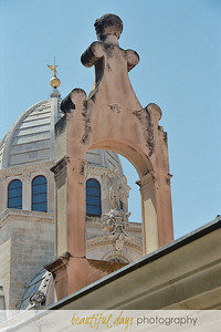 Statue on church dome in Sibinik, Croatia.