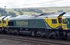 66528 Madge Eliot MBE: Borders Railway Opening 2015, 0Y50, Greenholme, Sat 9 April 2016 - 1210.  66528 was named after the veteran Borders Railway campaigner in 2015.  It is seen on a Basford Hall - Carlisle yard positioning move with 66512, 66531, 66564 & 66413, all going to work engineering trains.