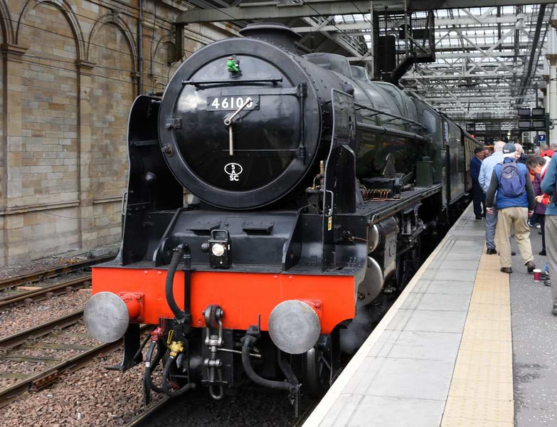 46100 Royal Scot, 1Z22, Edinburgh Waverley, Sun 25 September 2016 - 0933.  ScotRail had run their Borders Railway steam specials every Sunday from 7 August.  There were two trains each day, and the Scot had worked them all.  25 September was the last day of the season.