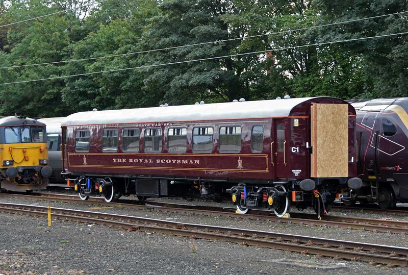 Royal Scotsman spa car 99337, Craigentinny, Sun 25 September 2016.  This new addition to the luxury landcruise train is former WCRC Pullman 337, acquired by Belmond in 2015 and subsequently refurbished with two spa treatment rooms.  It entered traffic the day after this photo.