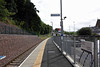Galashiels station, Sun 25 September 2016 2.  Looking south towards Tweedbank.  The A7 road is at right, between the station and the new transport interchange.