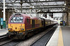 67009, 5Z22, Edinburgh Waverley, Sun 25 September 2016 - 0921.  The Skip brings the 0855 ECS from Millerhill into platform 7.  46100 was on the rear.  The nine coaches were support coach 35317, 3150, 1730, 3115, 35185, 4856, 4832, 1859 & 4831.   67009 stayed on the rear of the train to Tweedbank, and hauled the return.  90043 is at right.