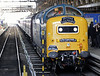 55022 Royal Scots Grey, 1Z55, King's Cross, Sat 12 June 2010 - 1045    RSG stands at platform 1.  At some point, presumably Wakefield Kirkgate, it has acquired a Healey Mills Photographic Society headboard.