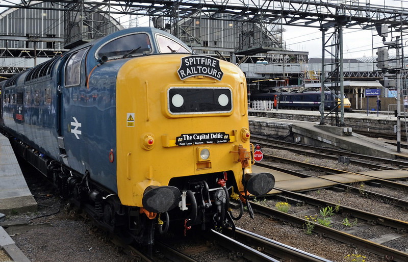 55022 Royal Scots Grey, 1Z56, King's Cross, Sat 12 June 2010 - 1756    RSG eventually got away 18 minutes late at 1806.  Problems at Wakefield Kirkgate meant that it had to run from Doncaster to Huddersfield via Leeds.  The train reversed there, and 57601 worked it back to Preston, reached one hour late, just after midnight.