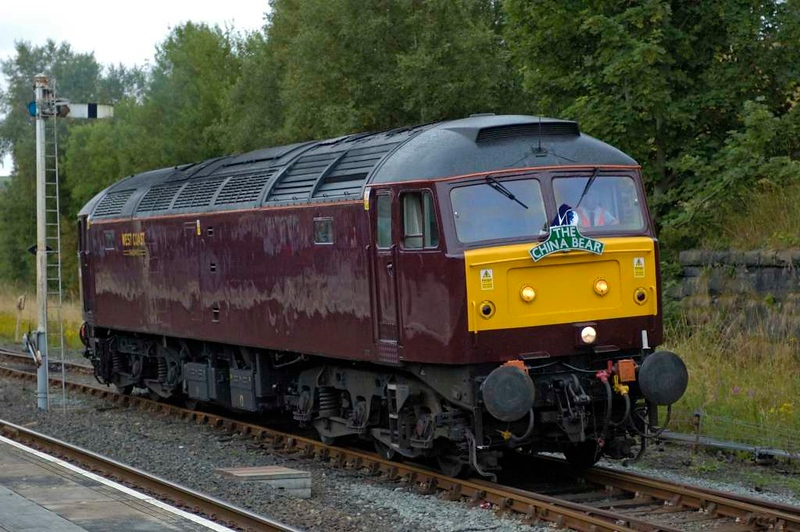 47854, Hellifield, Sat 30 July 2005 1 - 1917.  The 47 had run light from Preston to Hellifield.  It had just been repainted.