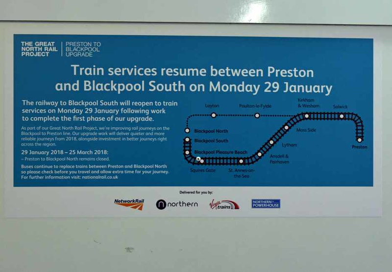 Train services to Blackpool South, Preston, Sat 27 January 2018.