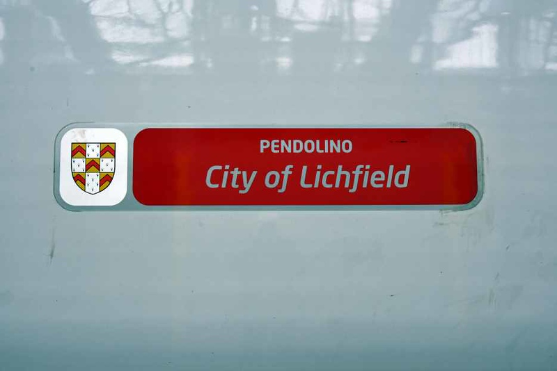 Name sticker, 390011 City of Lichfield, Carlisle, Sat 27 January 2018.  The Pendolino has been repainted and has lost its cast nameplate.