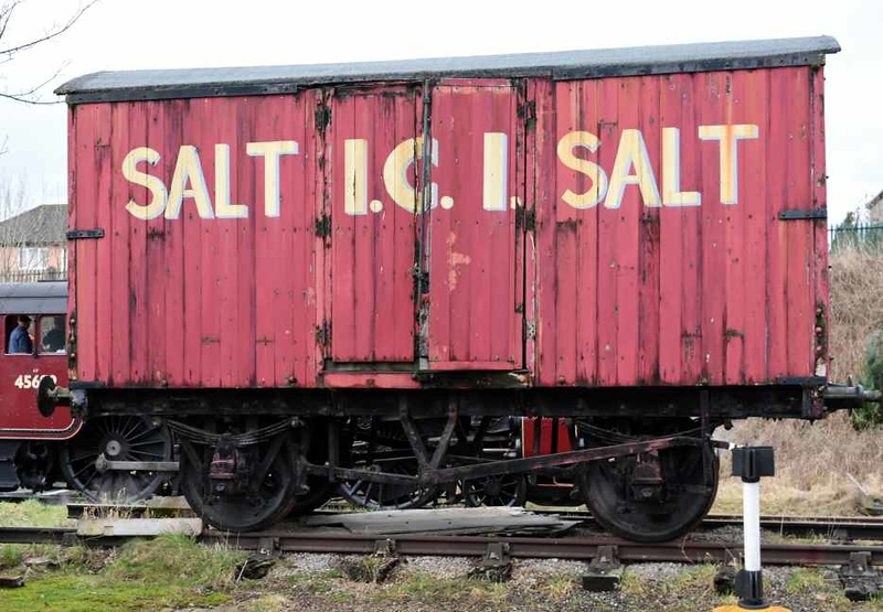 ICI salt van, Appleby, Sat 27 January 2018.  One of 25 (2500 - 2524) built by Gloucester Railway Carriage & Wagon Co in 1941 for Imperial Chemical Industry's Salt Division.  Now owned by the Transport Trust and awaiting restoration.  Also on site was pallet van WGB 4257, originally B 781799, built at Wolverton in 1960.