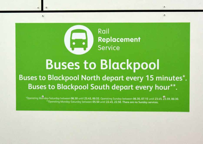 Rail replacement buses to Blackpool, Preston, Sat 27 January 2018.