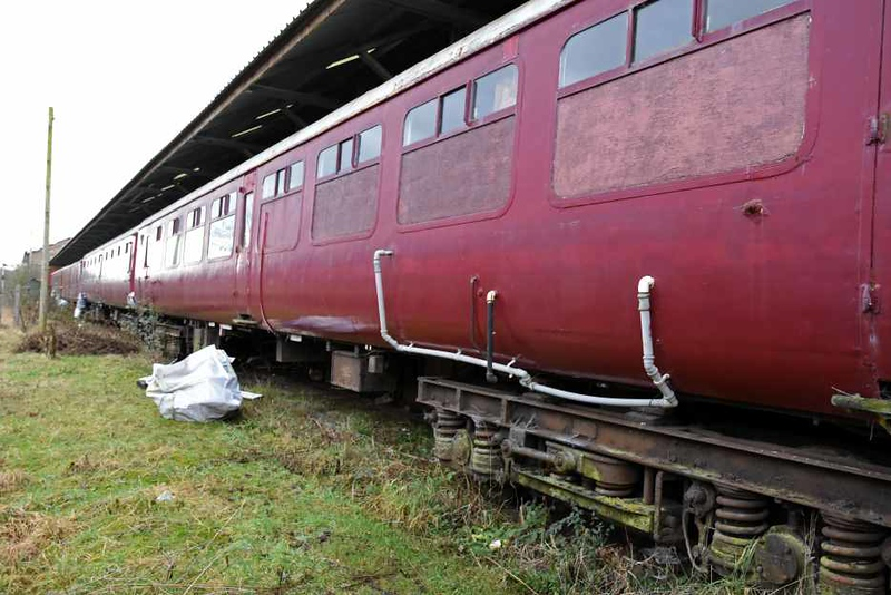 Appleby Training and Heritage Centre, Appleby, Sat 27 January 2018.  Mark 2 coaches 3357, 5159 & 5173 were on site, along with general utility vans 86749, 86753, 86910 & 86937.  All have been rapainted and have lost their numbers.