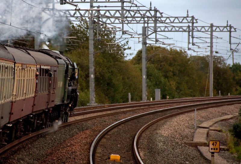 60163 Tornado, 1Z81, Milepost 47.75, 10 October 2009 - 1738.54     Tornado rounds the Clifton curve, runing alongside Eden Valley loop.  The 3.5 miles from Penrith (1735.54) had taken three minutes.