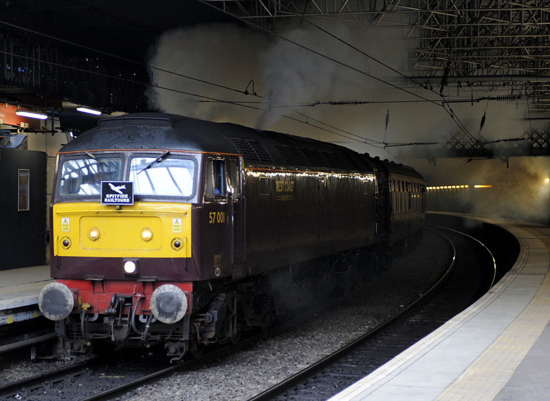 57001, 1Z48, Edinburgh Waverley, Sat 19 November 2011 - 1207.  WCRC's 57 lays a smokescreen as it sets off with the Edinburgh Explorer 2 Fife minitour.  Surely it was never like that with the Royal Scotsman?!