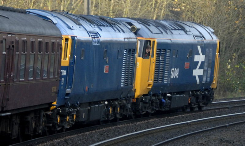 50049 Defiance & 50044 Exeter, 1Z47, approaching Morpeth, Sat 19 November 2011 - 0944.