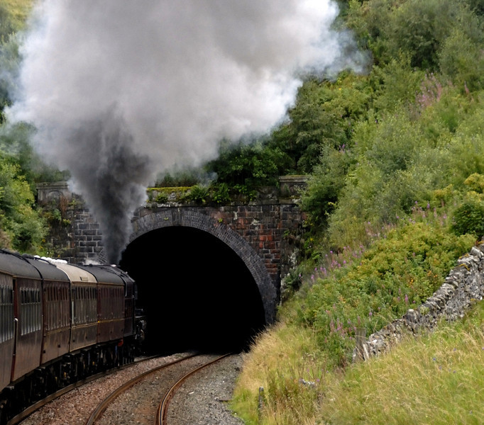 5690 Leander, 1Z25, entering Birkett tunnel, Wed 25 Aug 2010 - 1701