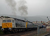 47839 Pegasus & 47832, Aviemore, 27 August 2007 5 - 1356   The 47s propel the train out of the station...
