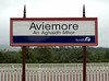 Aviemore Station sign 1: First ScotRail, 27 August 2007  We reached Aviemore at 1338, 12 minutes early.  Arrival could have been even earlier if we had not been held at Kincraig from 1303 to 1329 to cross the 1240 Inverness - Edinburgh. It left Aviemore on time at 1323, so we had plenty of time to reach Aviemore before then.