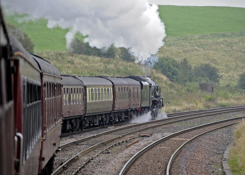 46115 Scots Guardsman, 1Z20, entering Hellifield up goods loop, Sat 8 September 2012 - 0842.
