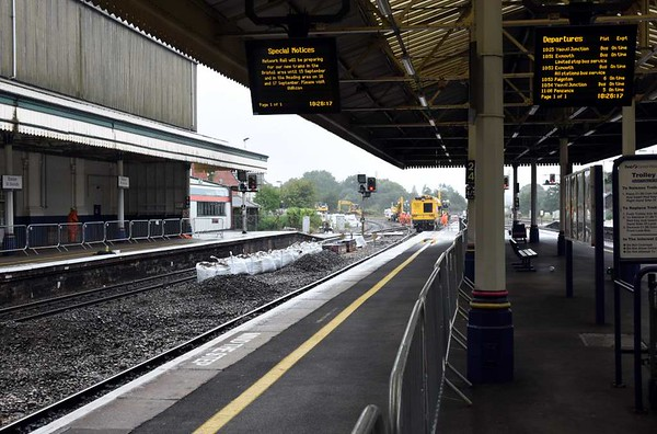 Track maintenance, Exeter St David's. Sun 4 September 2017 1.  As can be seen two lines were out of use.  This meant that the Royal Duchy had been booked to take water in Tiverton loop and not at St David's, as on previous occasions.