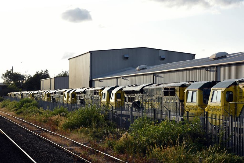 Freightliner Leeds Vehicle Maintenance Facility, Stourton, Thurs 18 July 2019 4.  70014 (nearest), 70011, 70019, 70008, 70017, 70018, 70016 & 70013.