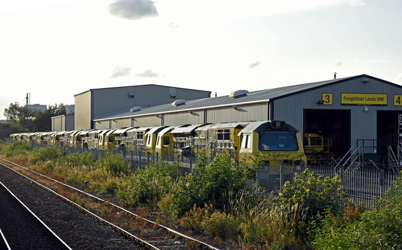 Freightliner Leeds Vehicle Maintenance Facility, Stourton, Thurs 18 July 2019 3.  Here out of use is half of Freightliner's class 70 fleet.  The ten locos are 70004 The Coal Industry Society (nearest). 70001 PowerHaul, 70014, 70011, 70019, 70008, 70017, 70018, 70016 & 70013.