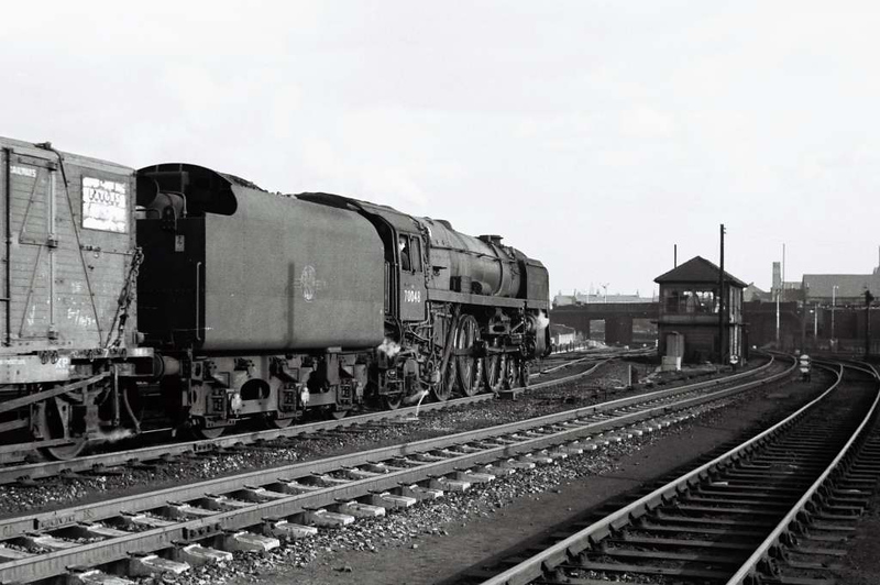 De-named Britannia 70048 heads south past Engine Shed Junction, Holbeck, on 18 March 1967.  Holbeck shed is off camera at right.