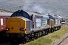 37610 T S (Ted) Cassady & 37608, Kyle of Lochalsh, Sat 19 June 2010 - 1450      The 37s run round their train.
