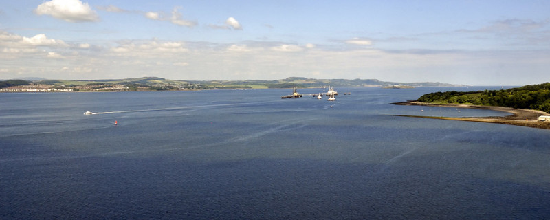 Looking north east from the Forth Rail Bridge across the Firth of Forth, Mon 21 June 2010 - 1508