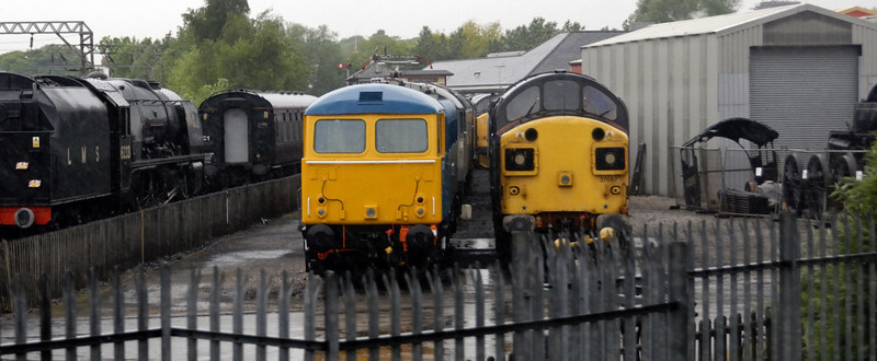 Crewe heritage centre, Sat 29 May 2010 - 0831 1     Visible are 6233 Duchess of Sutherland (left), 87035 (with 47192 behind),  37087 Keighley & Worth Valley Railway (with 37682 behind), 60009 Union of South Africa (cab) & 80136.  The DRS 37s, with 66433, were visiting in support of the centre's charity weekend for St Luke's Hospice.