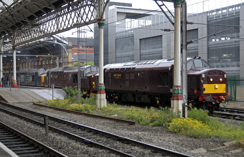 37685, 37706 & 37218, 1Z25, Preston, Sat 29 May 2010 2 - 0643     This was 37685's first main line outing for WCRC, but unfortunately all was not well with its engine and it provided no haulage.