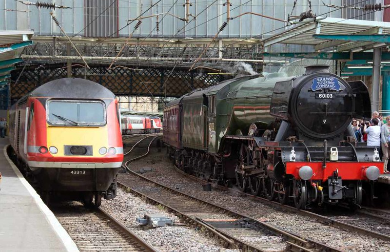 43308 Highland Chieftain + 43313 & 60103 Flying Scotsman (1Z63), Carlisle, Sun 17 July 2016 - 1536.  The HST heads south with VTEC's 0940 Inverness - King's Cross, diverted because of a fatality near Longniddry, and passes 60103 which had just arrived with The Waverley from York.