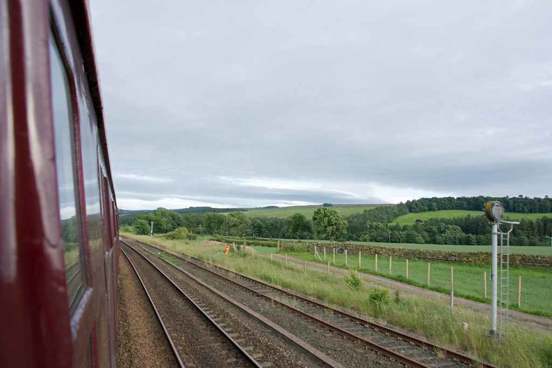 60103 Flying Scotsman, 1Z64, Melkridge siding, Sun 17 July 2016 - 1857.  Passing the disused coal loading point.