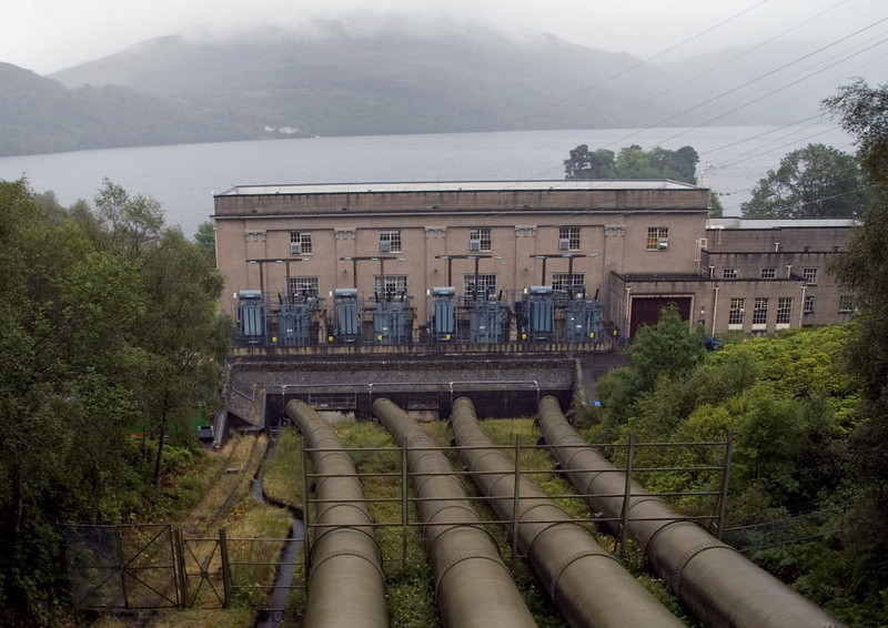 Inveruglas hydro-electric power station , 25 August 2007    The pipes bring water from Loch Sloy.  Loch Lomond is in the background.