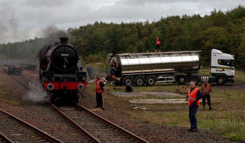 5690 Leander, Cadder yard, 27 September 2009 - 1611     The Jubilee stands in the yard as The Great Marquess brings in the 'West HIghlander' on time.  As well as changing engines, the train reversed here, with Leander and the two coaches which had stayed at Glasgow attaching to what had been the rear of the train from Fort William.  The K4 and its support coach detached and ran to their base at Thornton after taking water.