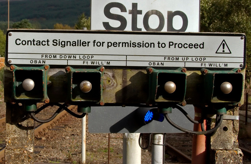 Signaller contact point, Crianlarich, 26 September 2009     The entire West Highland line is controlled from Banavie, just outside Fort William.