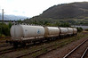 Alcan PCA alumina tanks, Fort William, 26 September 2009 - 1328    These wagons carry alumina from North Blyth to the aluminium smelter at Fort William.  They are conveyed on DB Schenker's daily freight to and back from Fort William.  These are the only freight trains to run over the West Highland; there are none on the Mallaig extension.
