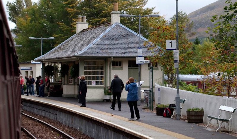 Glenfinnan station, 26 September 2009 - 1810     The coaches behind the station are used as a cafe and a bunkhouse.  The station building houses a railway museum.