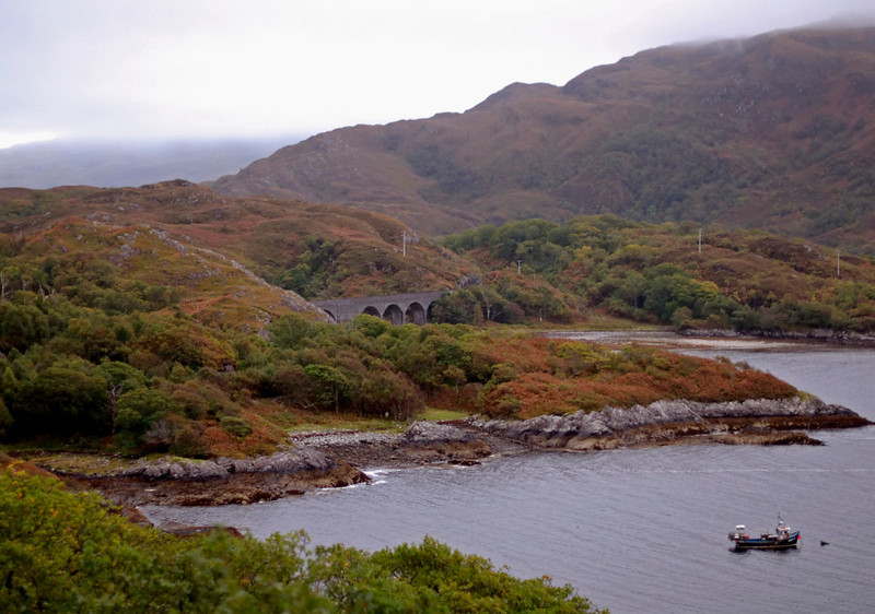 Looking south east from Beasdale to Loch nan Uamh viaduct, 26 September 2009 - 1743