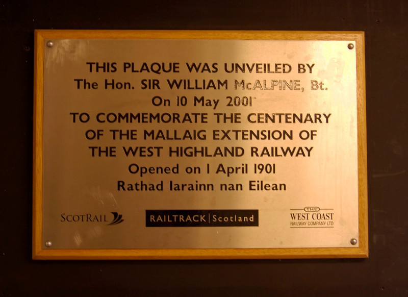 Mallaig Extension centenary plaque, Mallaig station, 26 September 2009    Sir William is the great grandson of Sir Robert McAlpine ('Concrete Bob') who built the Mallaiig extension.