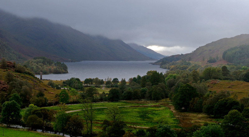 Looking south west down Loch Shiel, 26 September 2009 - 1814     The Glenfinnan monument, commemorating the 1745 Jacobite rebellion which ended in disaster at Culloden, is in the middle distance at left.