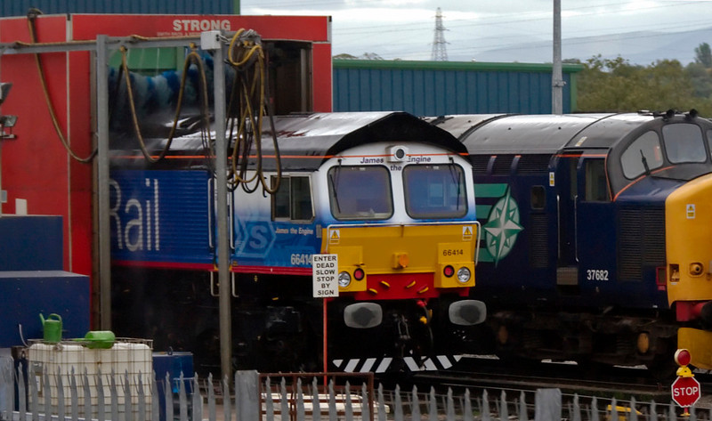 DRS depot, Carlisle Kingmoor, 25 September 2009 - 1340 3: 66414 James the Engine (getting a scrub) & 37682