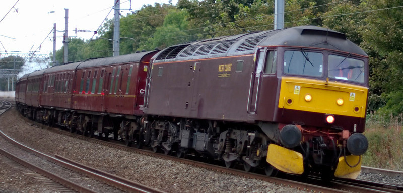 47760, 5Z22, Lancaster, 25 September 2009 - 0833      The WCRC 47 sweeps through Lancaster with the 'West Highlander' ECS from Carnforth.  On the rear was...