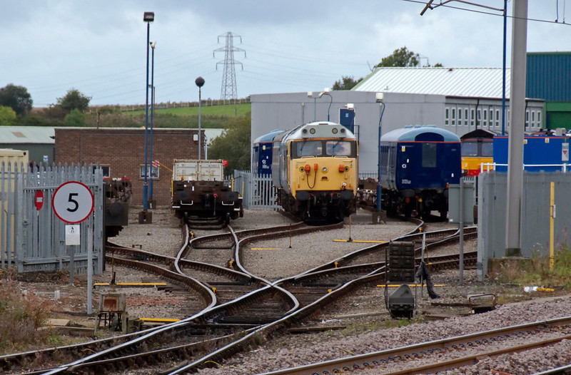 DRS depot, Carlisle Kingmoor, 25 September 2009 - 1340 1: 50049 Defiance.    37218 had moved the preserved class 50 from Crewe to Kingmoor on 15 May for wheelset repairs.