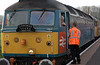 47853 Rail Express & 47847, 1Z42, Bishops Lydeard, 14 April 2007 3 - 1806.  Last minute briefing.  The train was operated by Victa Westlink.