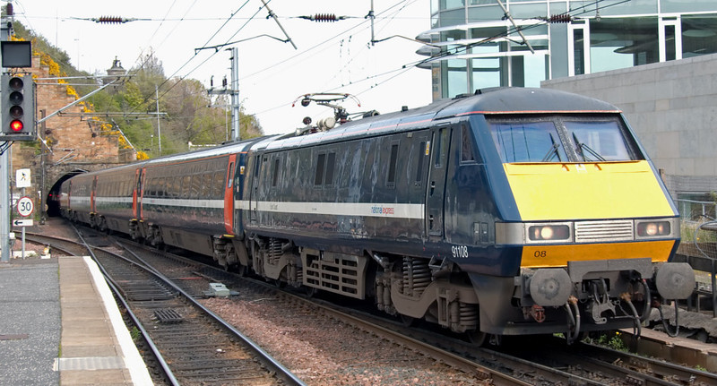 91108 City of Leeds, Edinburgh Waverley, 3 May 2008 - 1530    The National Express East Coast loco, with its name in miniscule script, brings in a train from King's Cross.  The DVT was 82220.