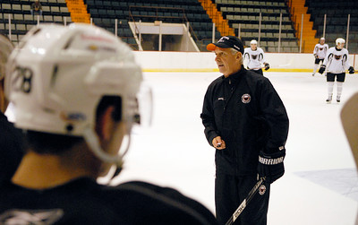 Head Coach Terry Murray during practice on the first day of practice for the Adirondack Phantoms at the Glens Falls Civic Center. Photo Erica Miller 10/9/12 spt_CoachMurray1_Wed