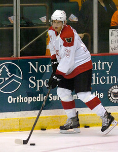 Assigned to Adirondack because of the NHL lockout, Philadelphia Flyer Brayden Schenn warms up Saturday before the Phantoms faced the Portland Pirates at the Glens Falls Civic Center. Ed Burke 10/13/12